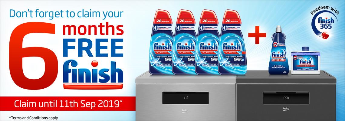 6 Months FREE Finish Promotion | AutoDose Connected Dishwashers | Beko