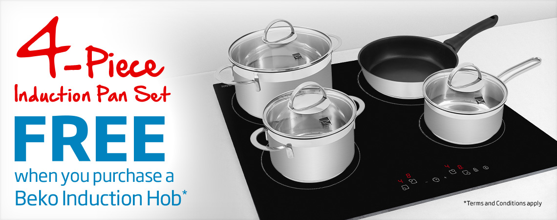 4 Piece Induction Pan Set Free when you purchase a Beko Induction Hob