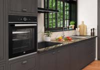 A kitchen featuring a Beko oven with Aeroperfect technology