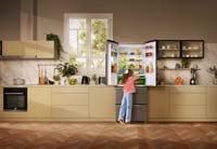A kitchen featuring a Fridge Freezer with HarvestFresh technology