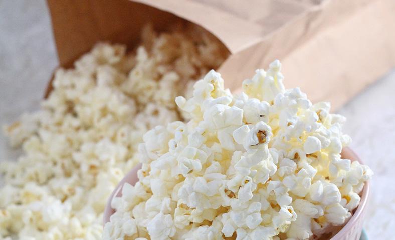 Popcorn in a brown bag