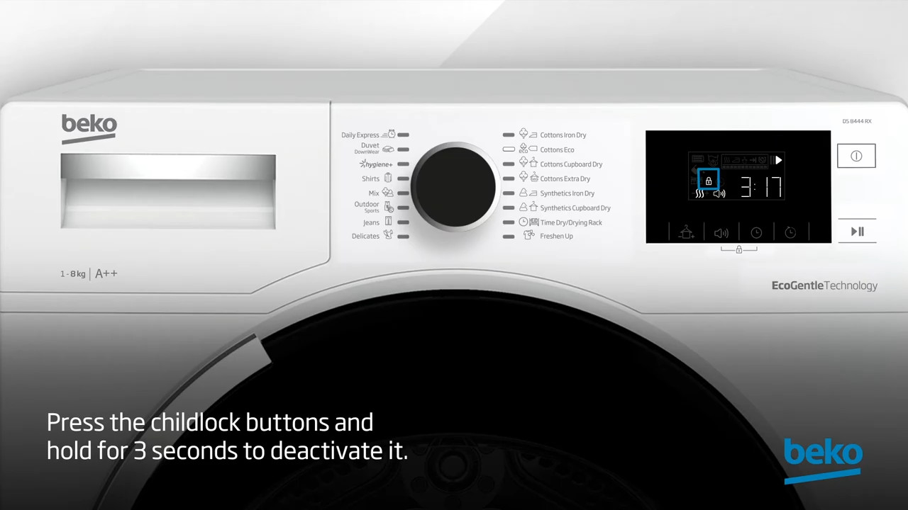 How to activate and deactivate childlock on your tumble dryer