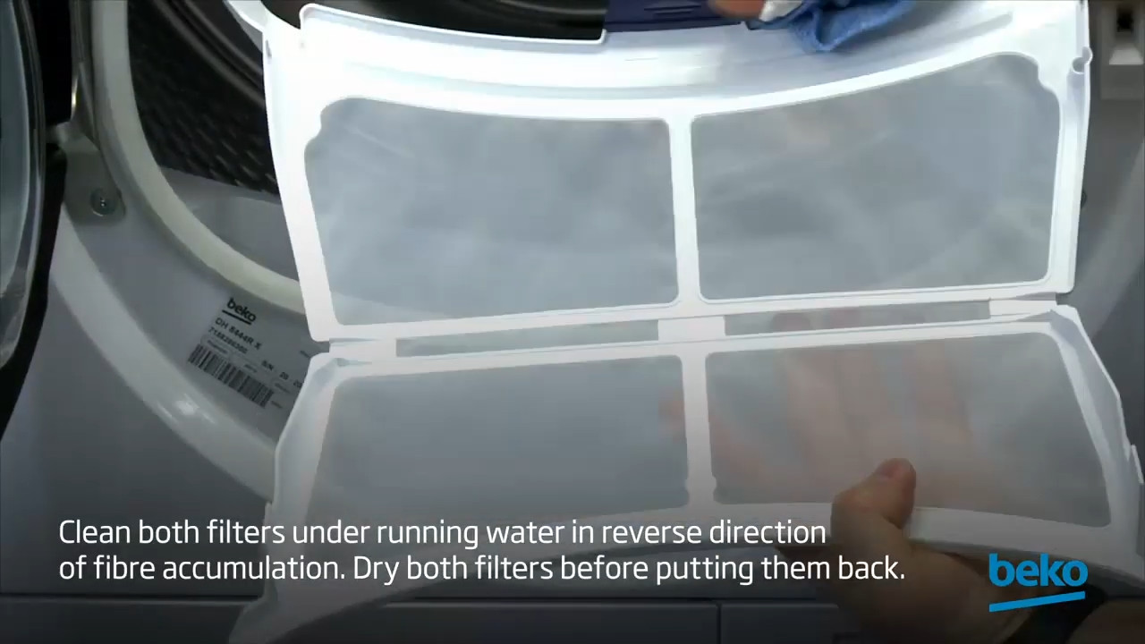 How to clean the 2-part combined filters of your tumble dryer