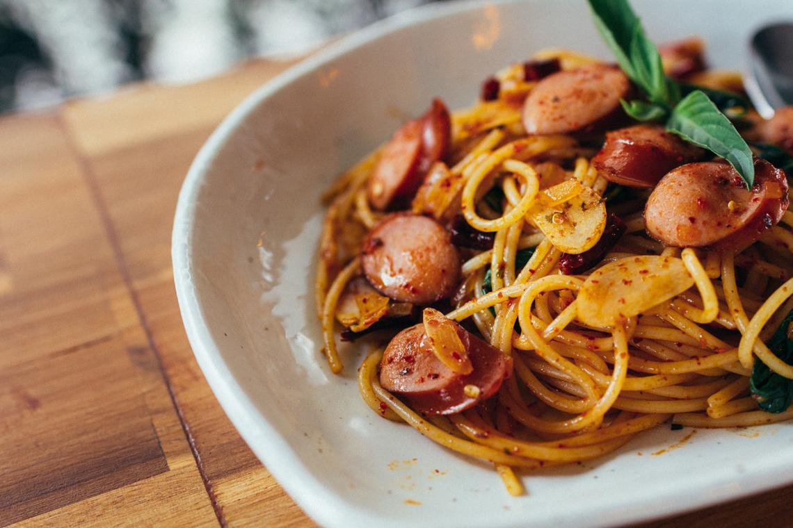 spaghetti and sausage