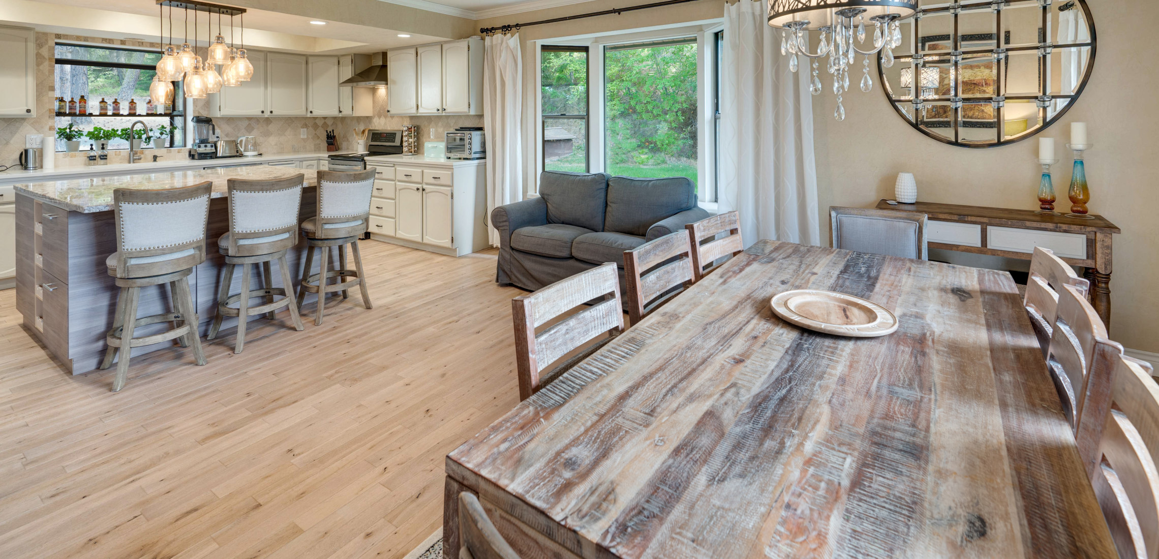 Rustic diner with warm oak