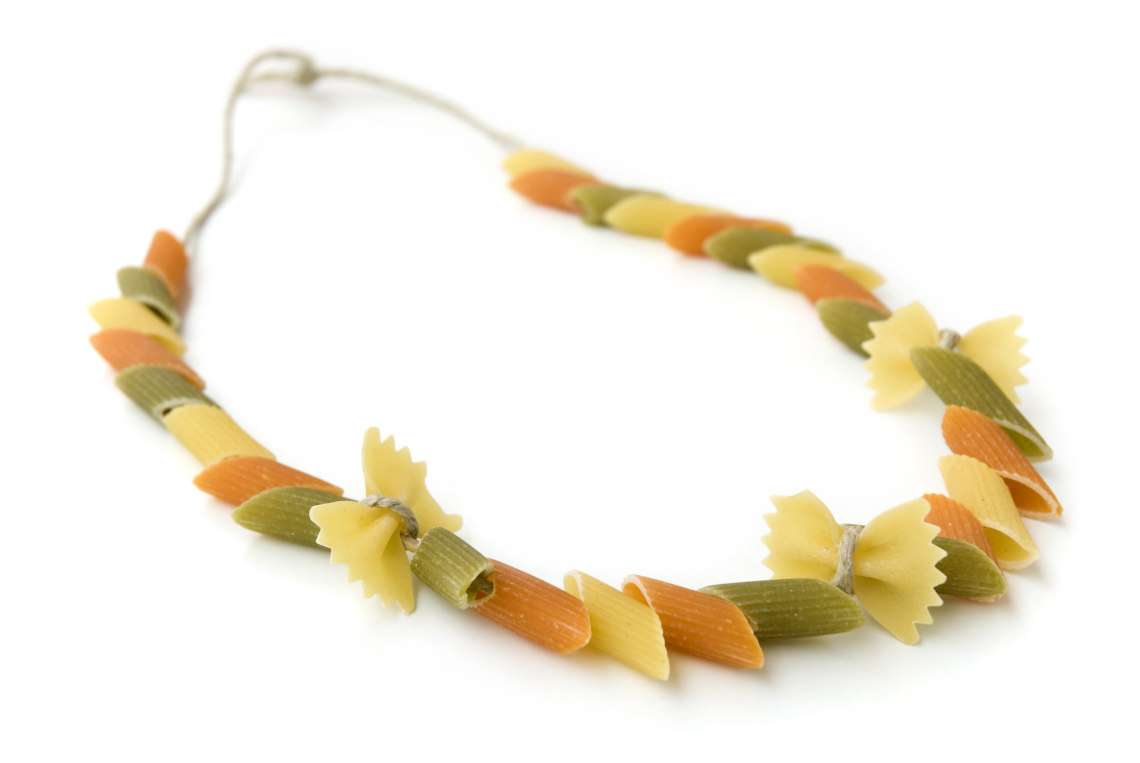 Make a pasta necklace