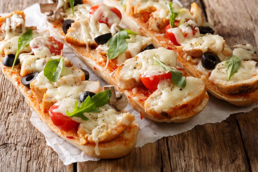 French Bread Pesto Chicken Pizzas