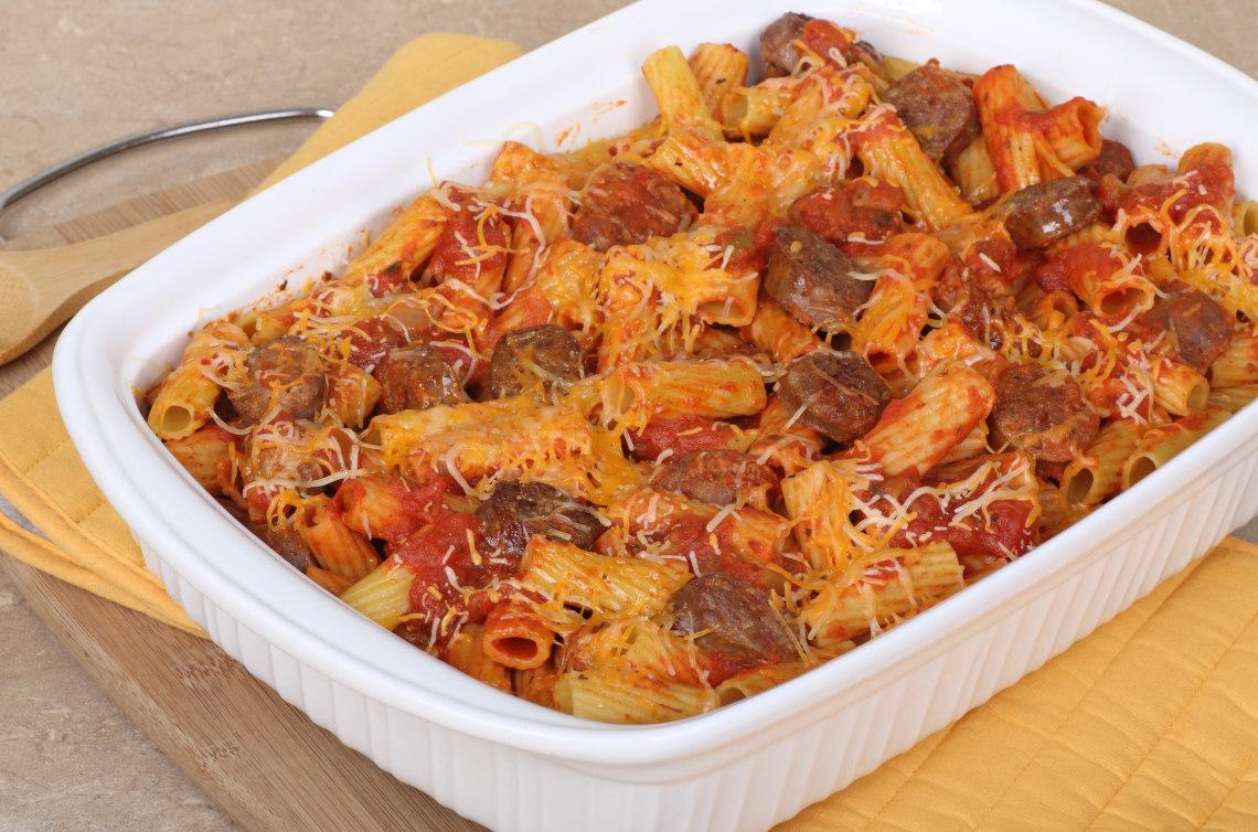 Rigatoni sausage bake
