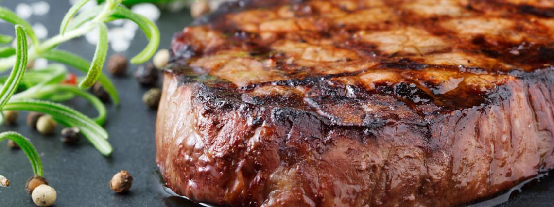 Salt and pepper ribeye steak with salad