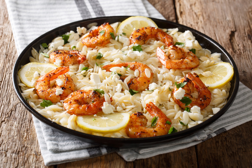 Spinach & Orzo Pilaf with Paprika Prawns