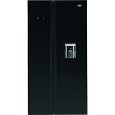 American Style Fridge Freezer Non-Plumbed Black ASDL251