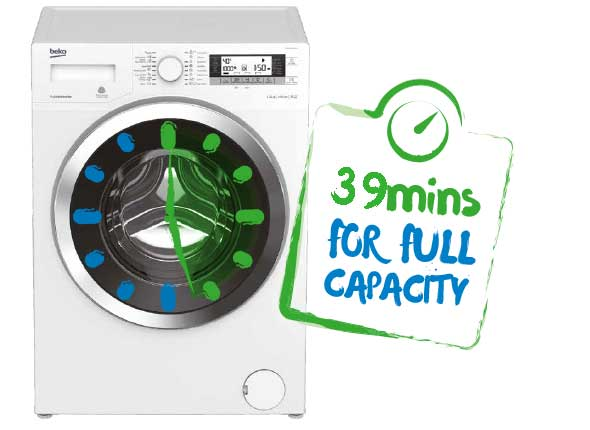 Fast wash for full load - 8kg in 39 min or under