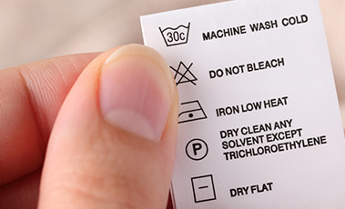 Washing symbol label