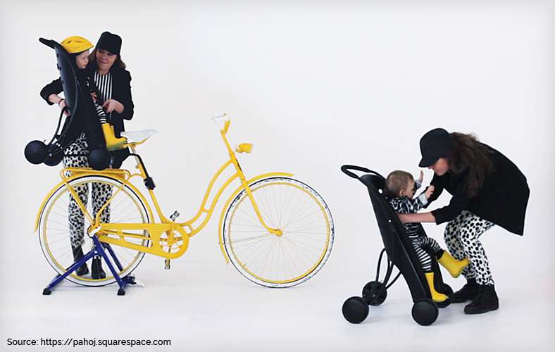 Children's bike seat that transforms into a stroller