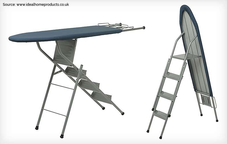Ironing board that morphs into a stepladder