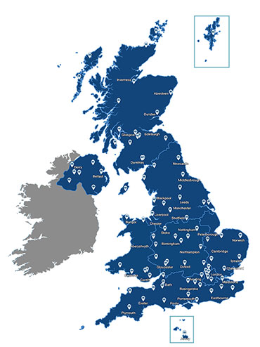 Map showing Beko service centres for repairs throughout the UK