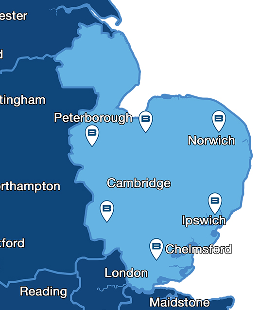 Map showing Beko service centres for repairs throughout Eastern England
