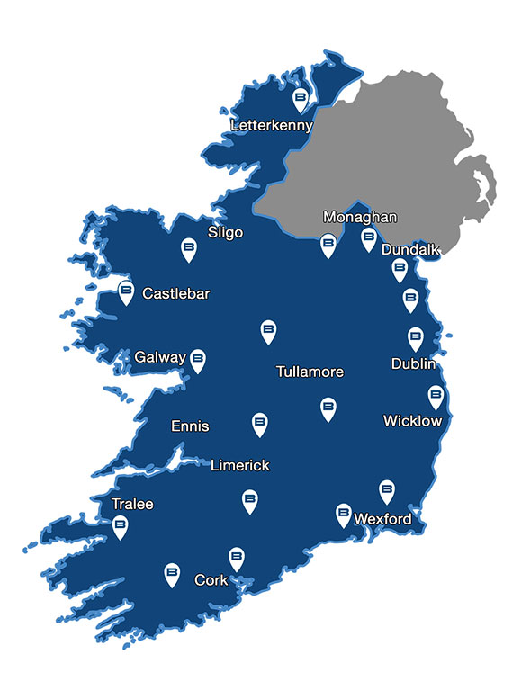 Map showing Beko service centres for repairs throughout Eire