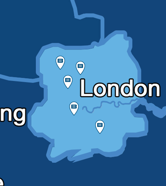 Map showing Beko service centres for repairs throughout Greater London