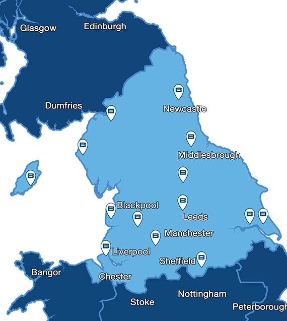 Map showing Beko service centres for repairs throughout Northern England