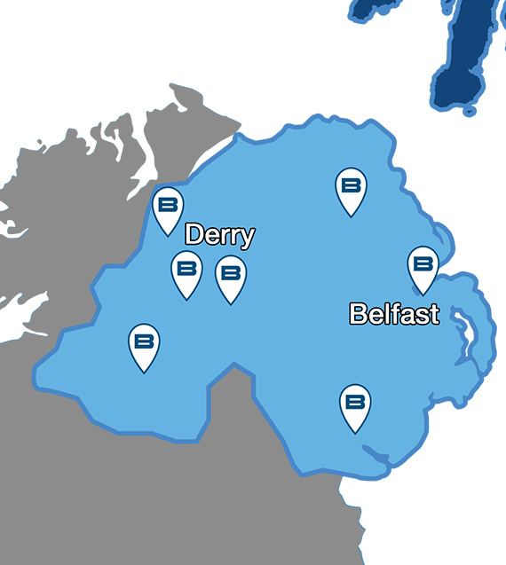 Map showing Beko service centres for repairs throughout Northern Ireland