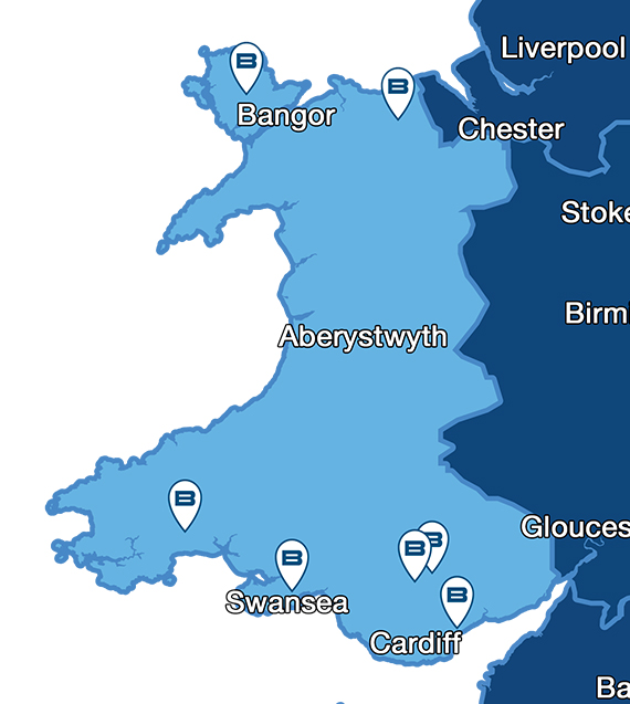 Map showing Beko service centres for repairs throughout Wales