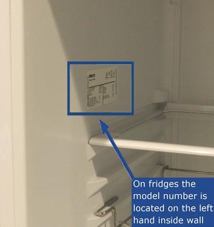 Find your Beko fridge model number
