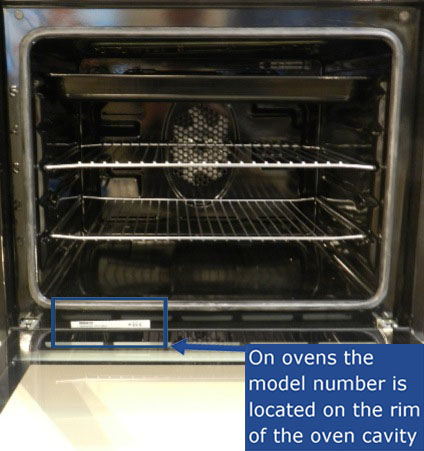 The model number is located on the rim of the oven cavity