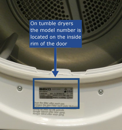 The model number is located on the inside rim of the door