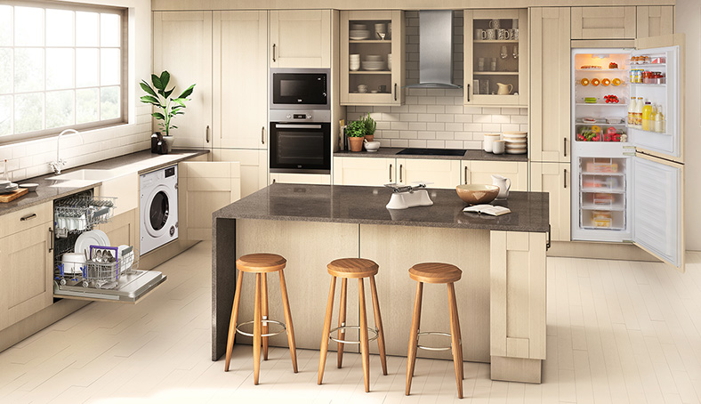 A range of appliances in a kitchen