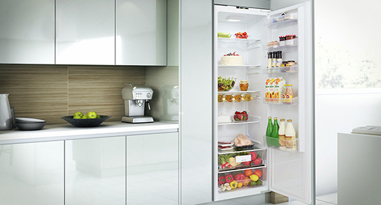 An under counter built-in fridge for a stylish kitchen
