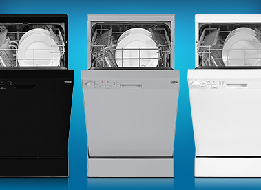 beko black, white, and silver dishwashers