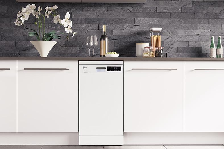 Slimline dishwasher fitted into kitchen