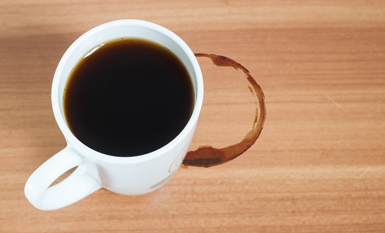 Coffee mug stain on table
