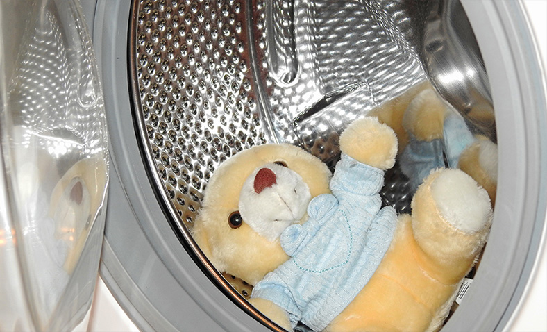 Teddy bear in washing machine drum