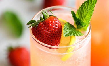 glass of homemade strawberry lemonade