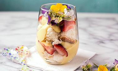 lemon custard trifle in a glass