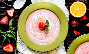 Bowl of chilled strawberry and coconut soup