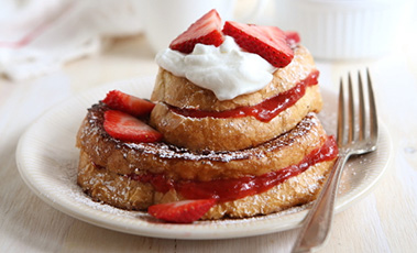 strawberry and rhubarb french toast