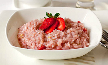 bowl of strawberry risotto