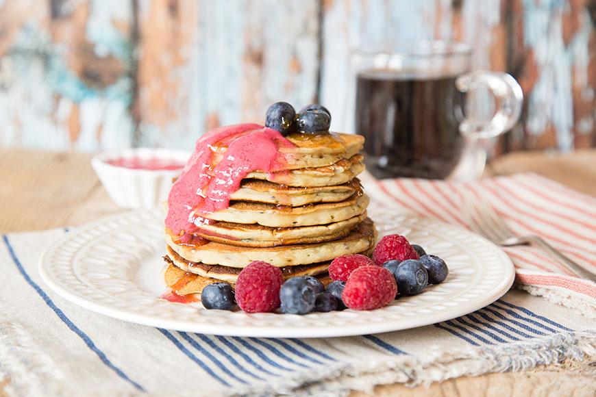 Vegan Fruity American Breakfast Pancakes