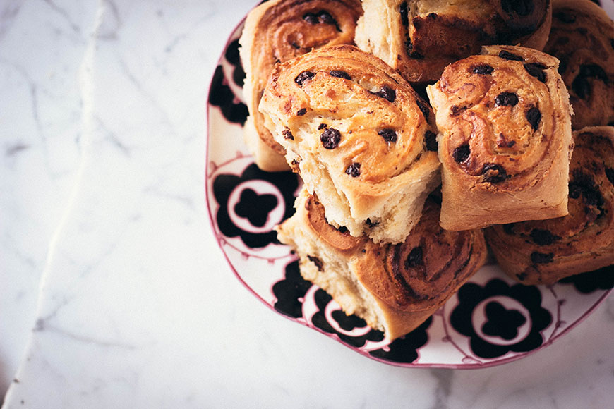 Overnight Chocolate Twist Buns
