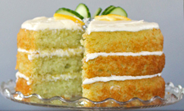 cucumber and lemon cake on a glass plate