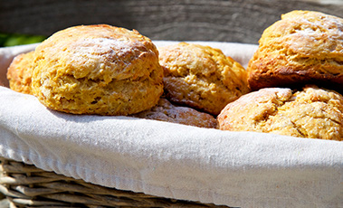 pumpkin and cinnamon scones in a basket