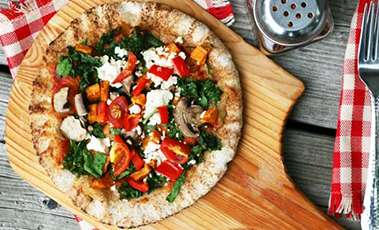 Superfood Pizza with kale, spinach and sweet potato