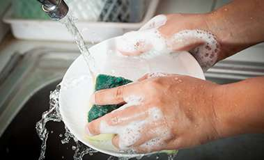 use a bowl of water to clean dishes, not a running tap