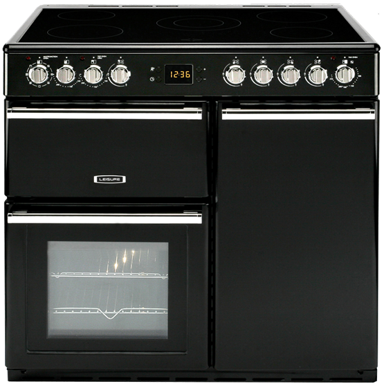 Contemporary styled dual fuel range cooker with three ovens and electric hob