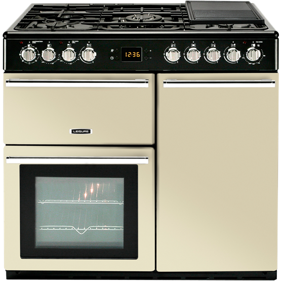 Contemporary styled dual fuel range cooker with three ovens and gas hob