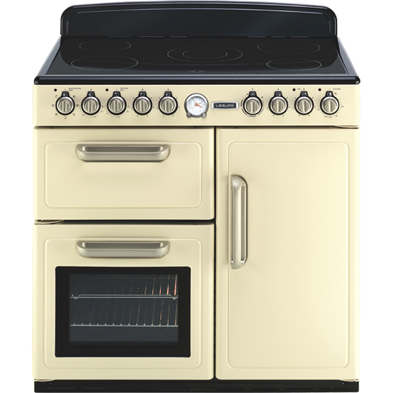 Traditional styled electric range cooker with three ovens and ceramic hob