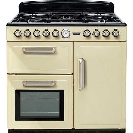 Traditional styled dual fuel range cooker with three ovens and gas hob